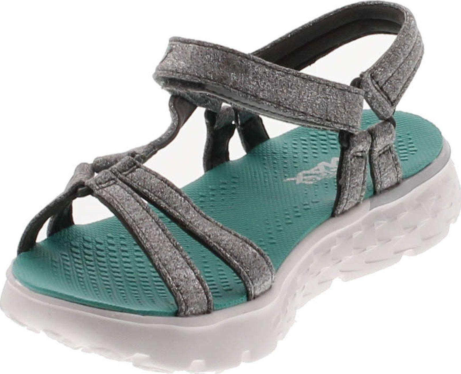 Girls' Skechers On the GO 400 Lil Radiance Ankle Strap Sandal GrayTurquoise