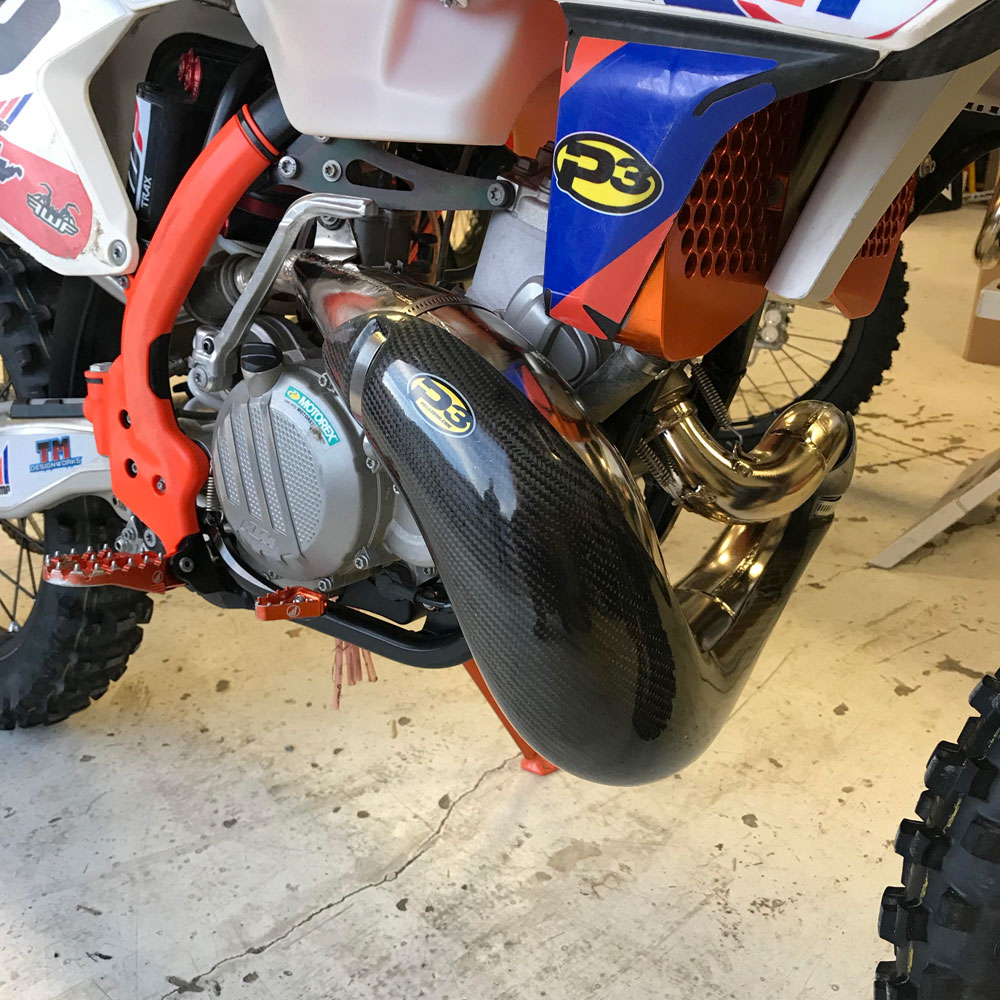 new P3 Carbon Fiber pipe guard for 2017 KTM 250 and 300 models with FMF pipes
