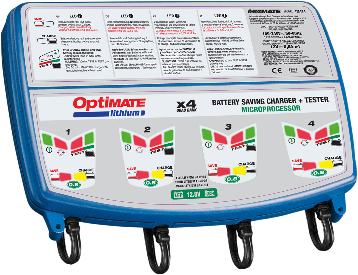 TM-485 Tecmate Optimate Lithium 4-Bank x 4s 0.8A 4-Bank x 8-Step 12.8//13.2V 0.8A Battery Saving Charger-Tester-maintainer