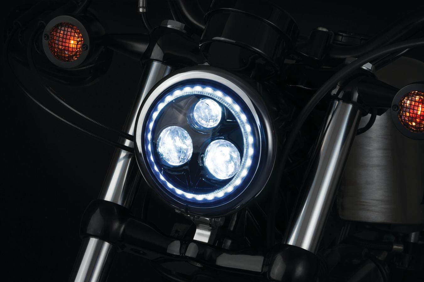 "6688 Kuryakyn 5 3//4/"" Dillinger Headlight Trim Ring Black"