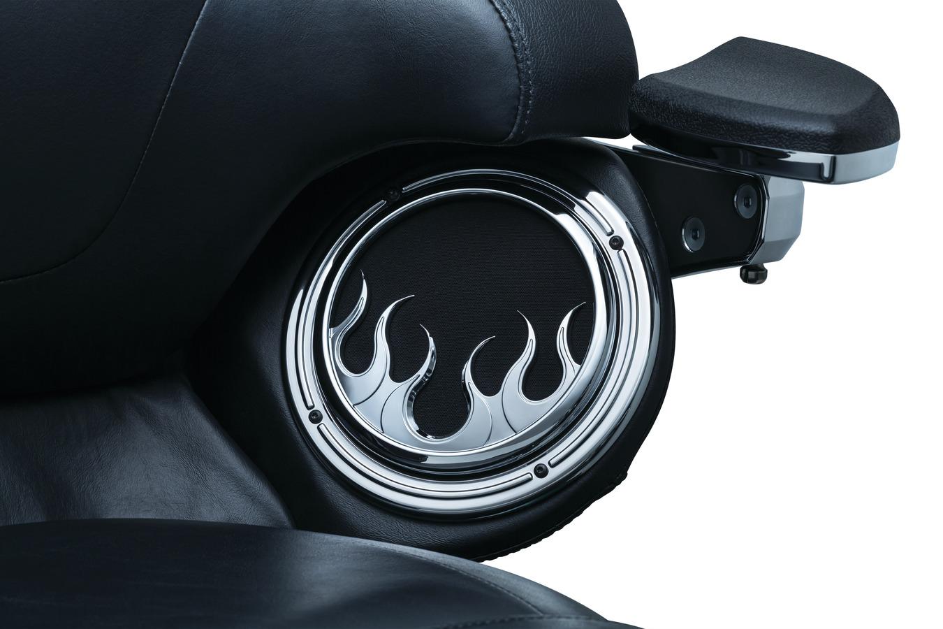 Kuryakyn 7374 Chrome Flame Speaker Grills for 2014-2018 Touring /& Trike