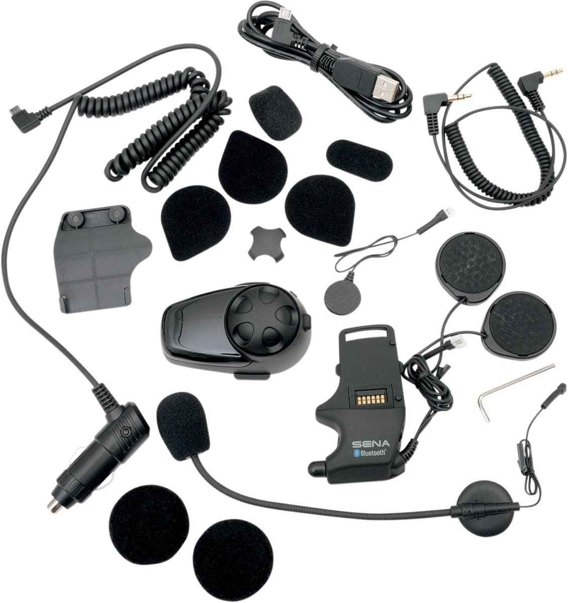 Con Kit De Micr/ófono Universal Sena SMH10D-11 Paquete Doble De Auricular Y Intercomunicador Bluetooth Para Motocicletas