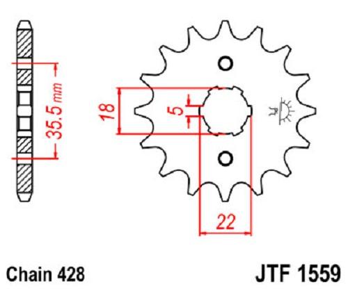 JT Sprockets JTF1559.14 14T Steel Front Sprocket