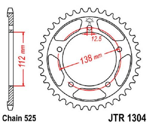 JT Sprockets JTR1304.44 44T Steel Rear Sprocket