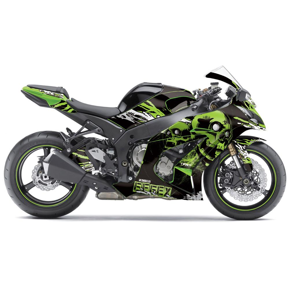 FX Skull Sport Bike Pre-Cut Graphics Wrap Kit For Kawasaki ...