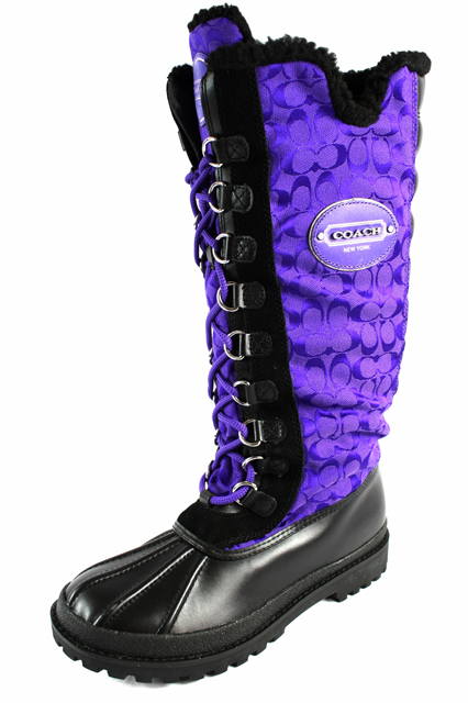 COACH Libby Signature C Logo UV Purple/Black Winter Knee ...