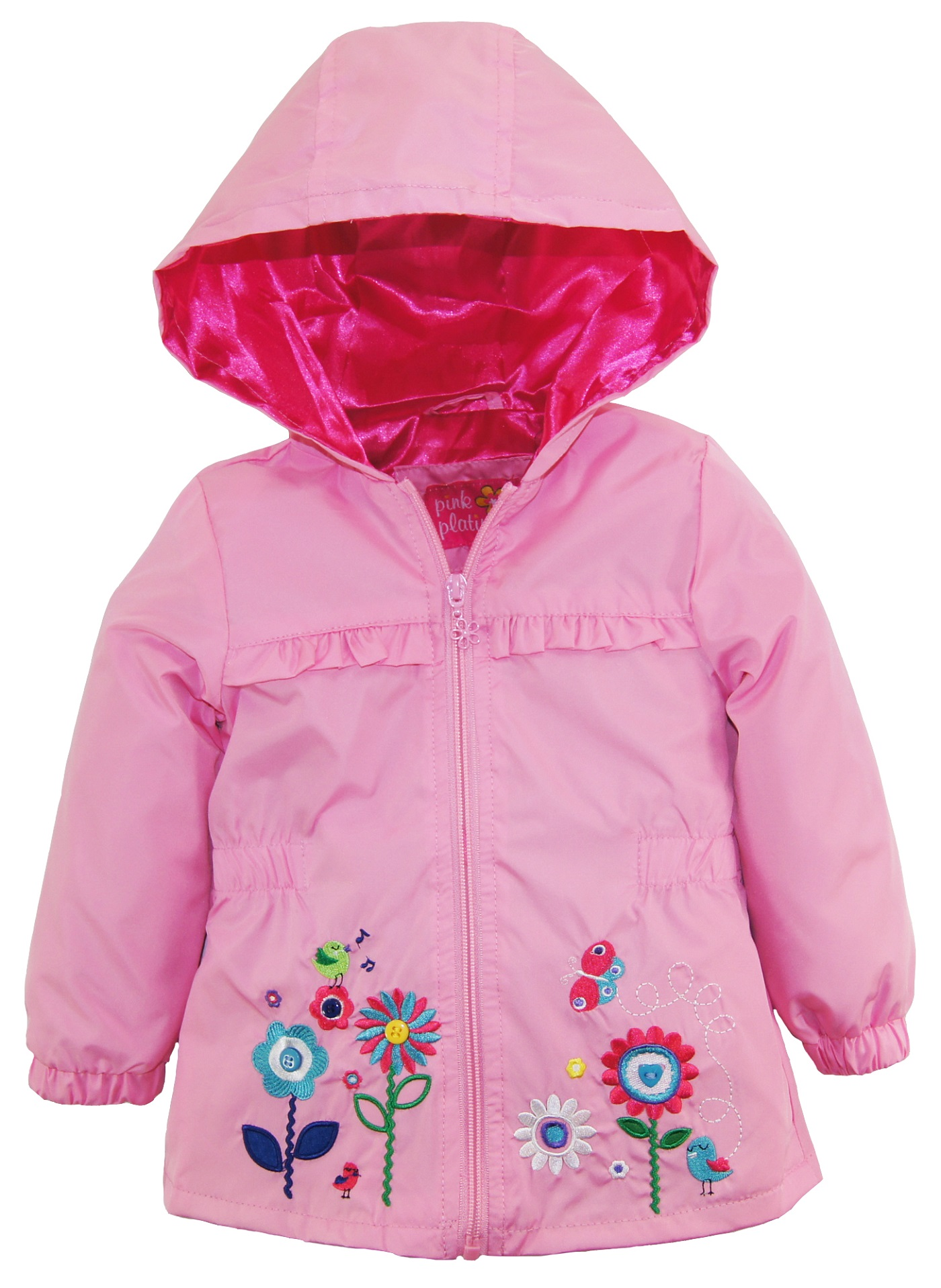 pink printed anorak little with fleece heart jacket platinum lining girls