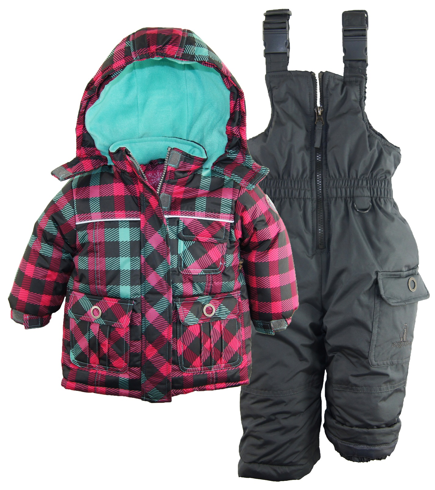 rugged bear baby girls 39 classic check snowboard jacket 2pc. Black Bedroom Furniture Sets. Home Design Ideas