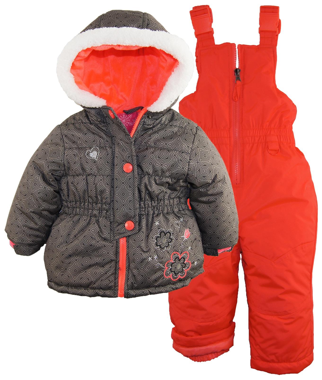 rugged bear baby girls flower detail puffer jacket 2 piece. Black Bedroom Furniture Sets. Home Design Ideas