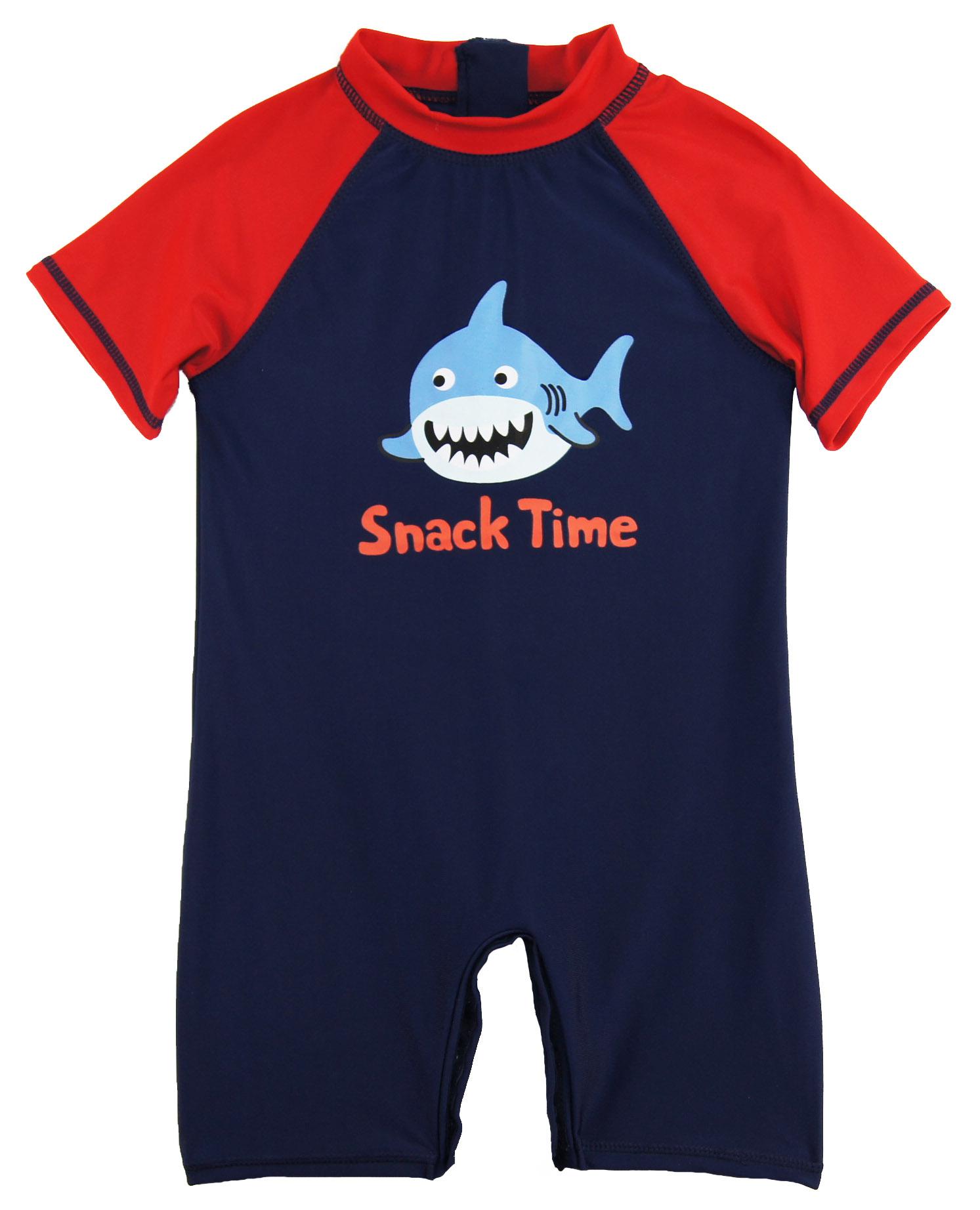 Sweet Soft Toddler Boys Swimwear Shark Snack Time Rashguard