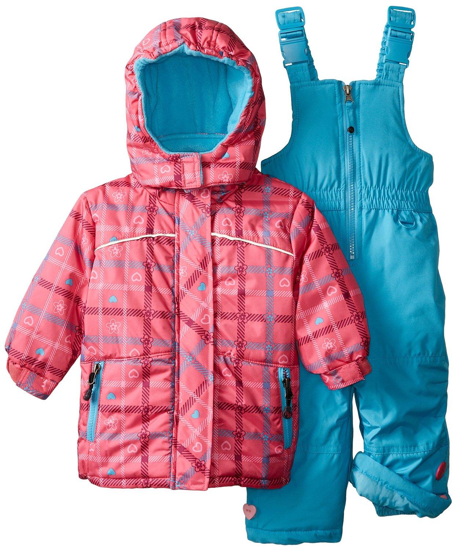 rugged bear baby girls 39 plaid heart snowsuit set ebay. Black Bedroom Furniture Sets. Home Design Ideas