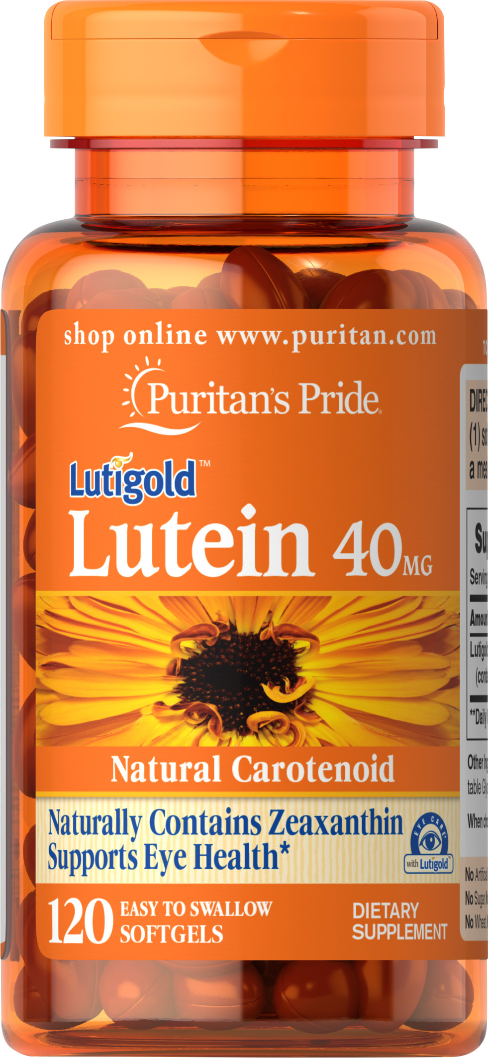 Puritan's Pride Lutein 40 mg with Zeaxanthin - 120 Softgels