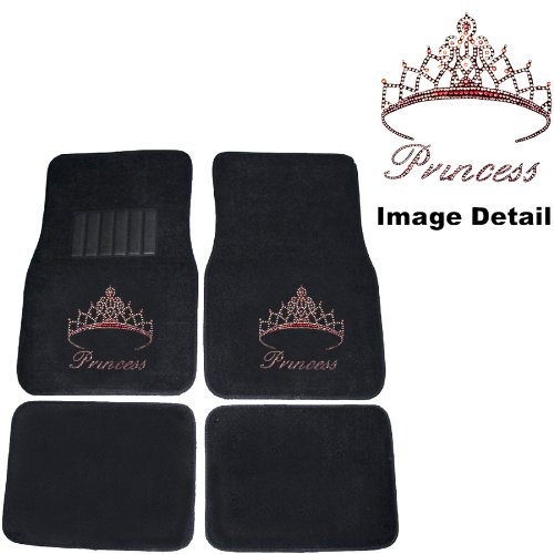 Pink Princess W Crown Crystal Studded Rhinestone Floor Mats Seat Covers Combo