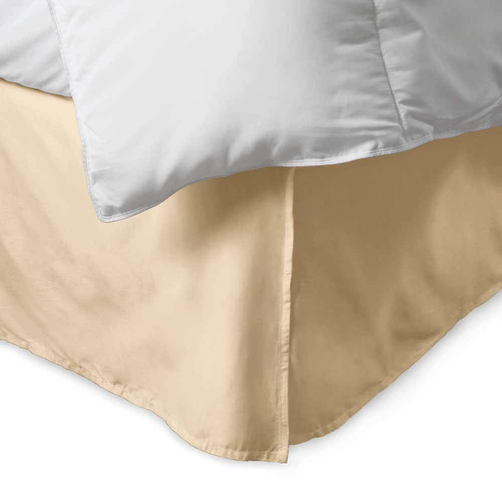 100% Cotton 300 Thread Count Solid Bed Skirt King Beige. About the 100% Cotton 300 Thread Count Bed Skirt:    300 thread count cotton  15'' drop with five pleats  Machine washable  Bold; vibrant colors  Matches perfectly with our sheets and duvet covers    Your bed set isn't complete without a 100% Cotton Bed Skirt from eLuxury. Our 300 thread count bed skirt comes in over a dozen unique colors to match any sheet or comforter set. Available in Twin; Queen; or King sizes. Spun from single ply thread; meaning it is composed of lighter; silkier thread than that economy cotton blends. It has a full 15'' overhang; fully concealing your box spring.  What's Included & Dimensions:    Twin Size: (1) Bed Skirt 38'' x 75'' + 15'' drop  Queen Size: (1) Bed Skirt 60'' x 80'' + 15'' drop  King Size: (1) Bed Skirt 78'' x 80'' + 15'' drop