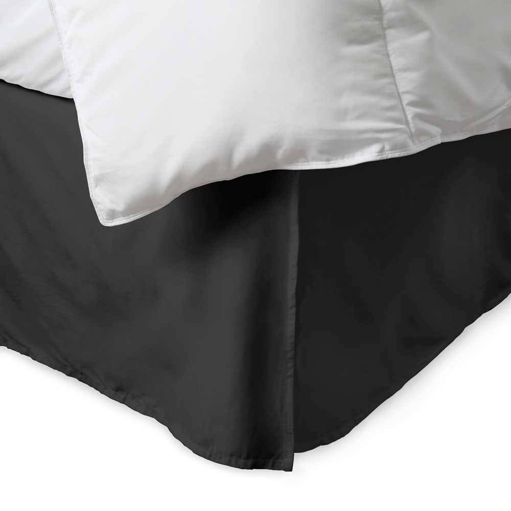 100% Cotton 300 Thread Count Solid Bed Skirt King Black. About the 100% Cotton 300 Thread Count Bed Skirt:    300 thread count cotton  15'' drop with five pleats  Machine washable  Bold; vibrant colors  Matches perfectly with our sheets and duvet covers    Your bed set isn't complete without a 100% Cotton Bed Skirt from eLuxury. Our 300 thread count bed skirt comes in over a dozen unique colors to match any sheet or comforter set. Available in Twin; Queen; or King sizes. Spun from single ply thread; meaning it is composed of lighter; silkier thread than that economy cotton blends. It has a full 15'' overhang; fully concealing your box spring.  What's Included & Dimensions:    Twin Size: (1) Bed Skirt 38'' x 75'' + 15'' drop  Queen Size: (1) Bed Skirt 60'' x 80'' + 15'' drop  King Size: (1) Bed Skirt 78'' x 80'' + 15'' drop
