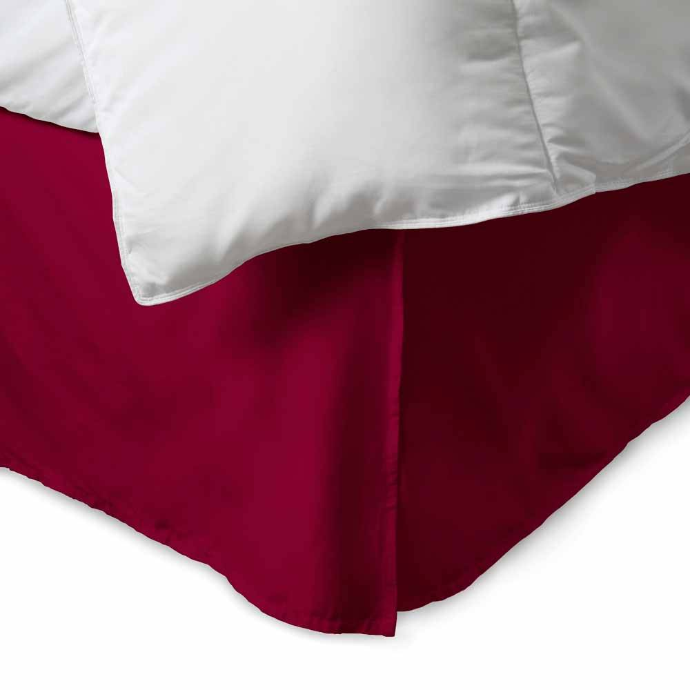 100% Cotton 300 Thread Count Solid Bed Skirt King Burgundy. About the 100% Cotton 300 Thread Count Bed Skirt:    300 thread count cotton  15'' drop with five pleats  Machine washable  Bold; vibrant colors  Matches perfectly with our sheets and duvet covers    Your bed set isn't complete without a 100% Cotton Bed Skirt from eLuxury. Our 300 thread count bed skirt comes in over a dozen unique colors to match any sheet or comforter set. Available in Twin; Queen; or King sizes. Spun from single ply thread; meaning it is composed of lighter; silkier thread than that economy cotton blends. It has a full 15'' overhang; fully concealing your box spring.  What's Included & Dimensions:    Twin Size: (1) Bed Skirt 38'' x 75'' + 15'' drop  Queen Size: (1) Bed Skirt 60'' x 80'' + 15'' drop  King Size: (1) Bed Skirt 78'' x 80'' + 15'' drop