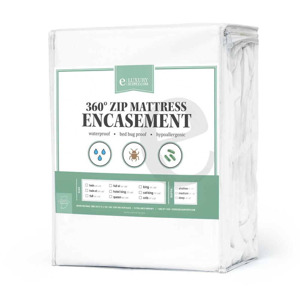 360 Removable Top Mattress Encasement - Waterproof - Bed Bug Protector Full XL White