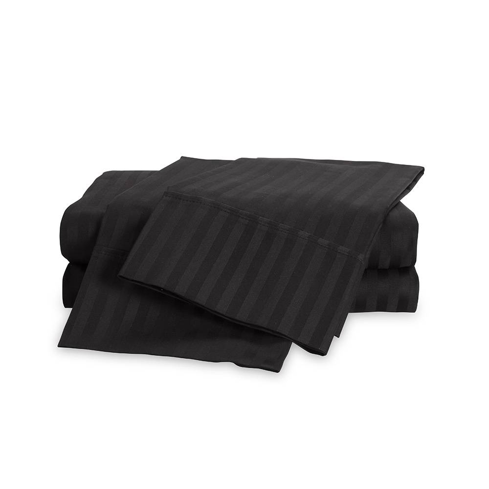 650 Thread Count Egyptian Cotton Striped Sheet Set King Black