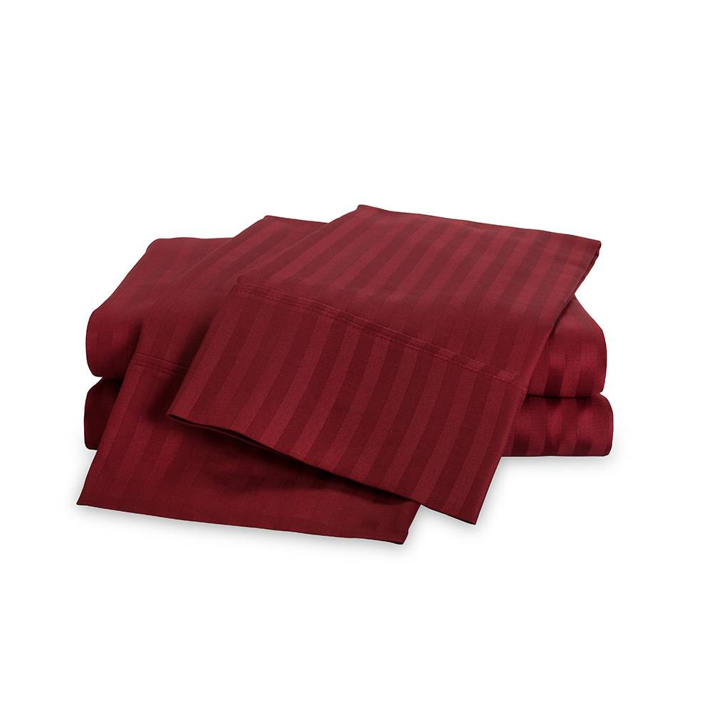 650 Thread Count Egyptian Cotton Striped Sheet Set Cal King Burgundy