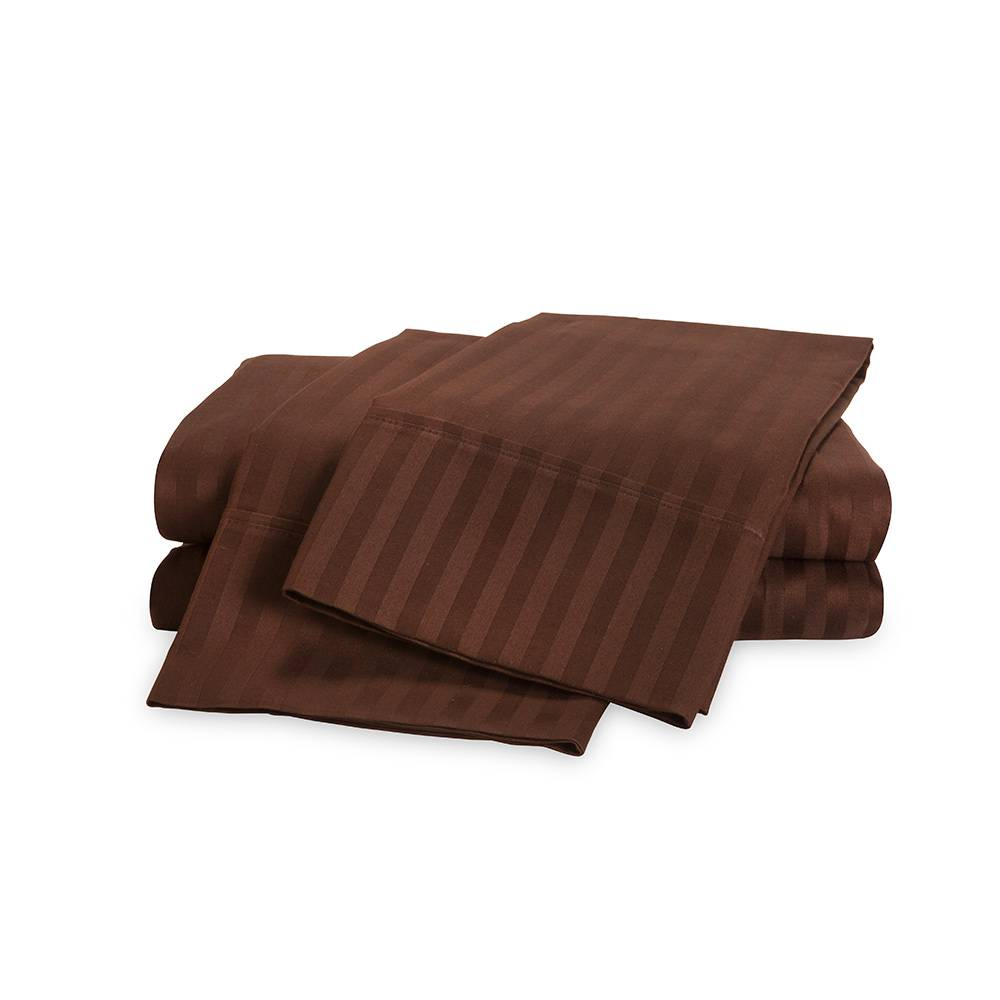 650 Thread Count Egyptian Cotton Striped Sheet Set Cal King Chocolate