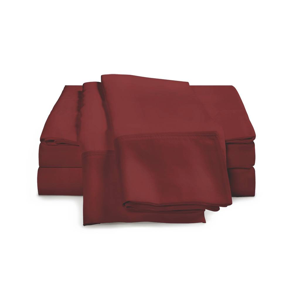 530 Thread Count Cotton Sheet Set Cal King Burgundy