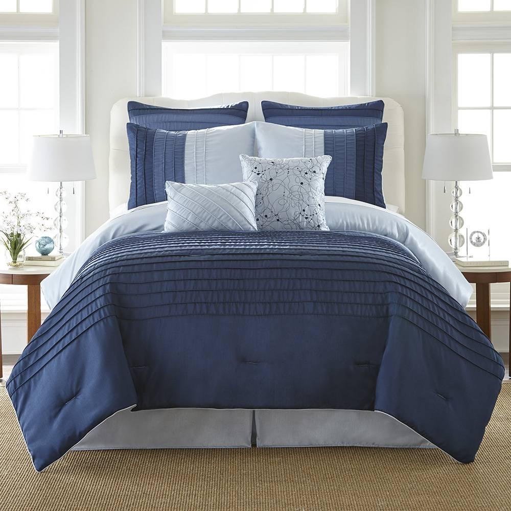 Ocean Drive 8 Piece Comforter Set - Bed in a Bag Queen Blue