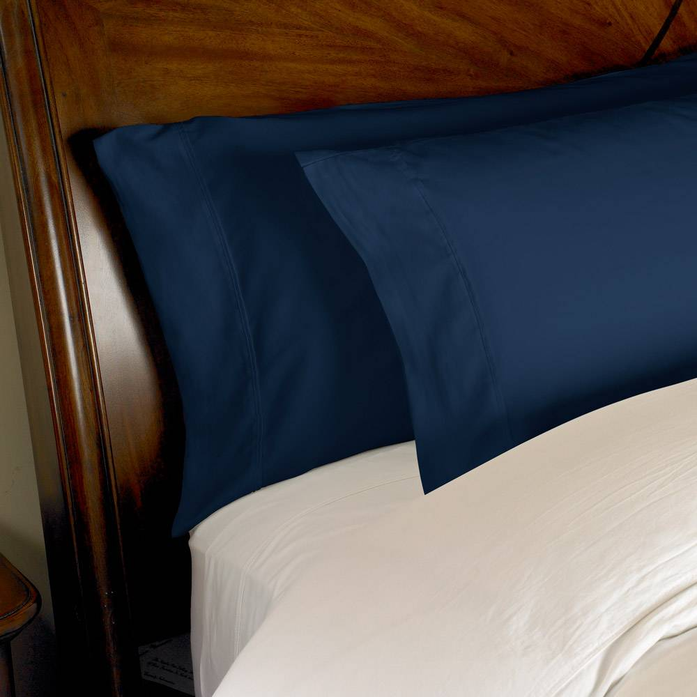 1000 Thread Count 2pc PillowCase Set Cotton by eLuxury King Solid Navy Blue