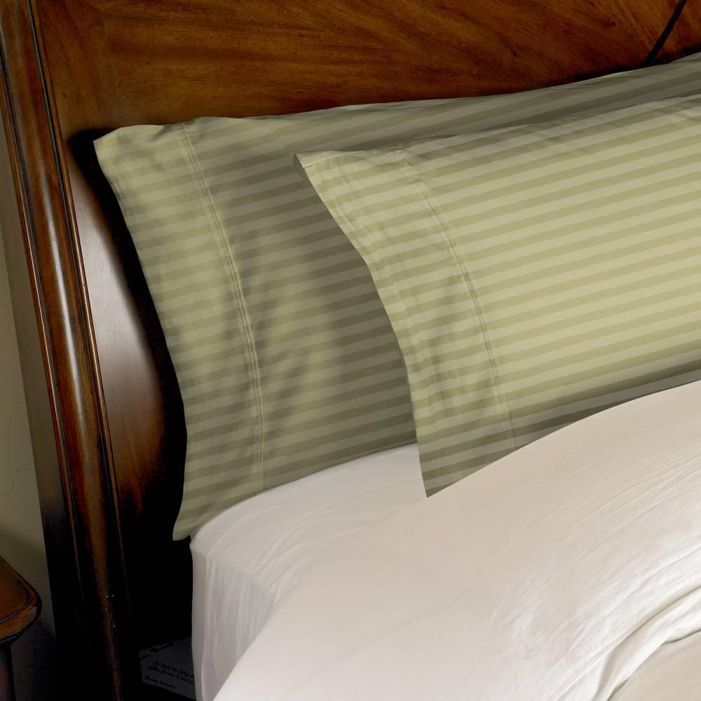 1000 Thread Count 2pc PillowCase Set Cotton by eLuxury King Striped Sage