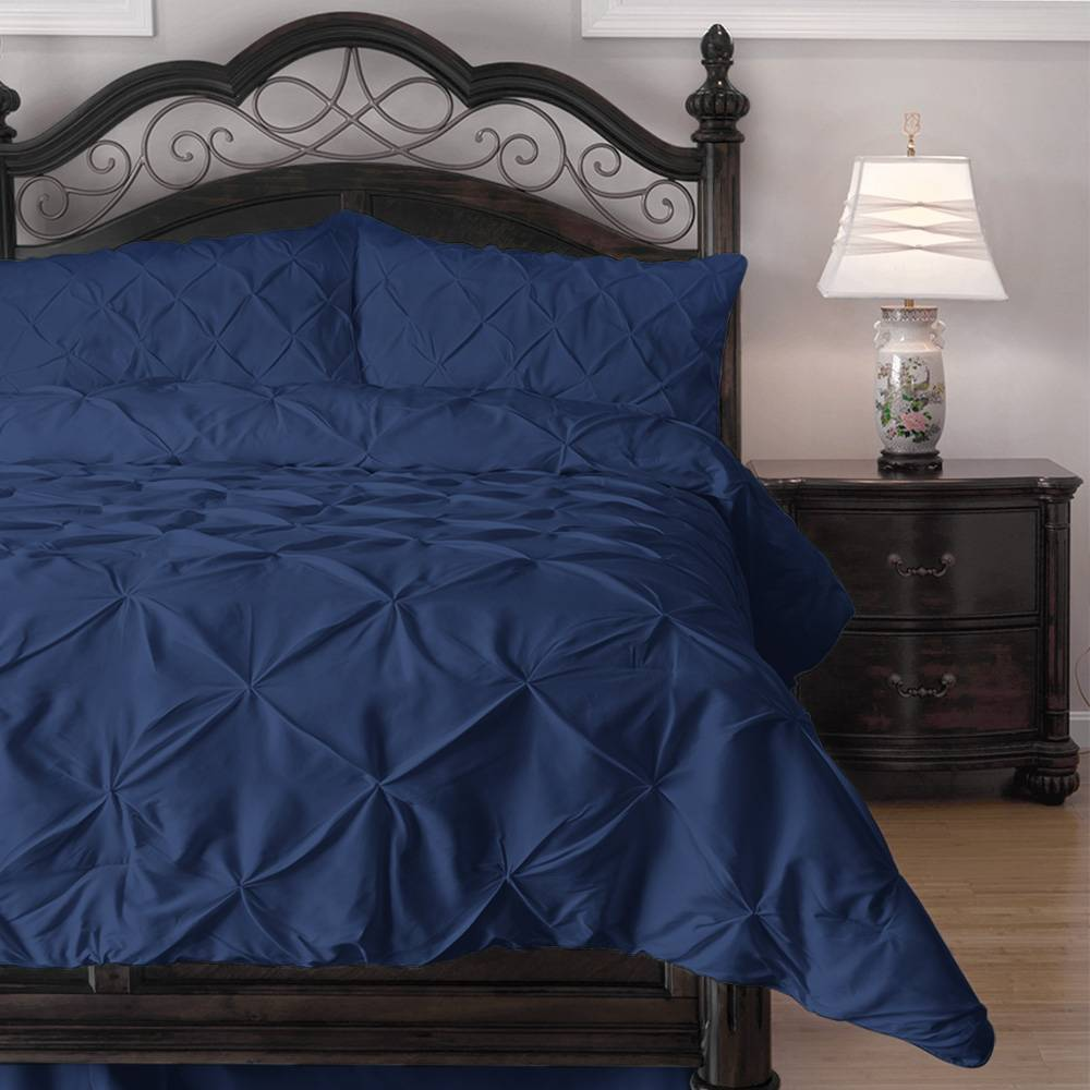 3 Piece Pinch Pleat Down Alternative Comforter Set Cal King Navy Blue