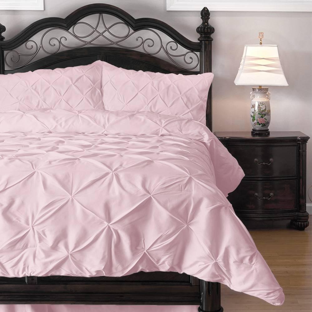 Comforter Set - 3 Piece Down Alternative Comforters - Decorative Pinch Pleat Pintuck Design Cal King Pink
