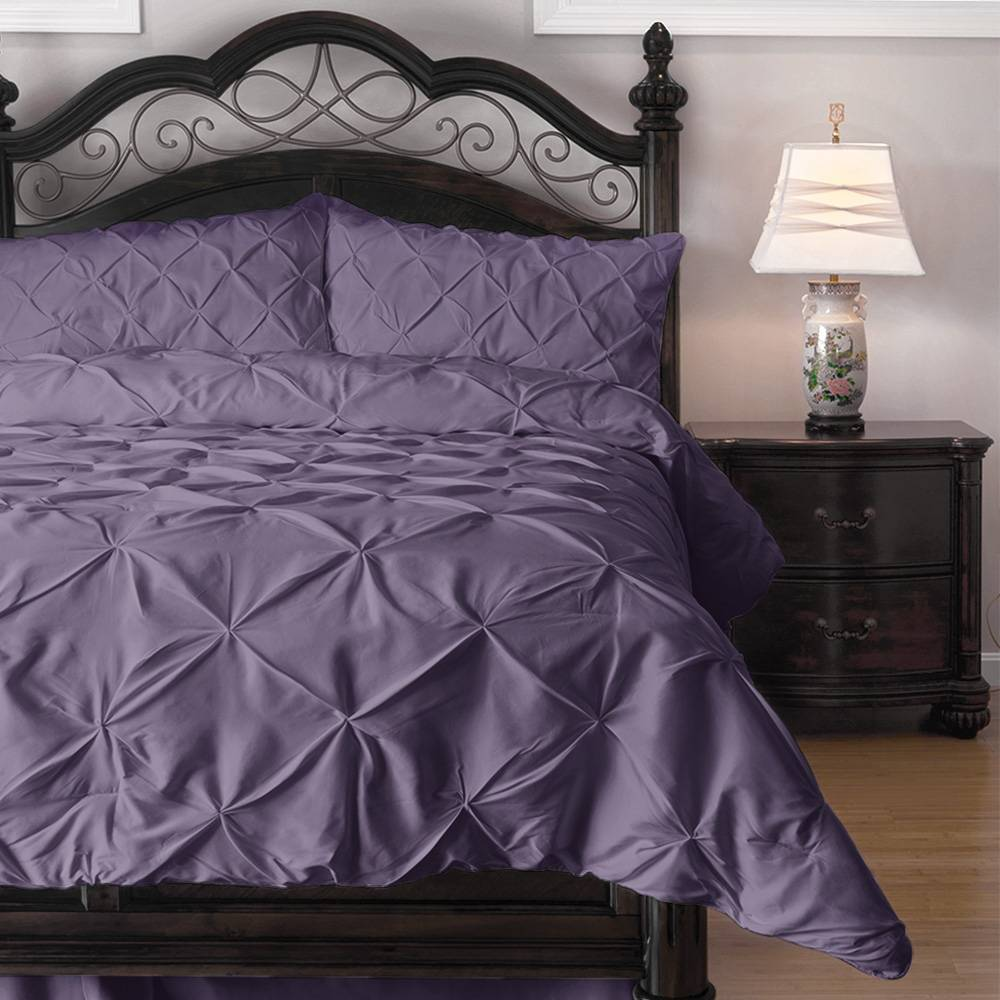 3 Piece Pinch Pleat Down Alternative Comforter Set Cal King Purple
