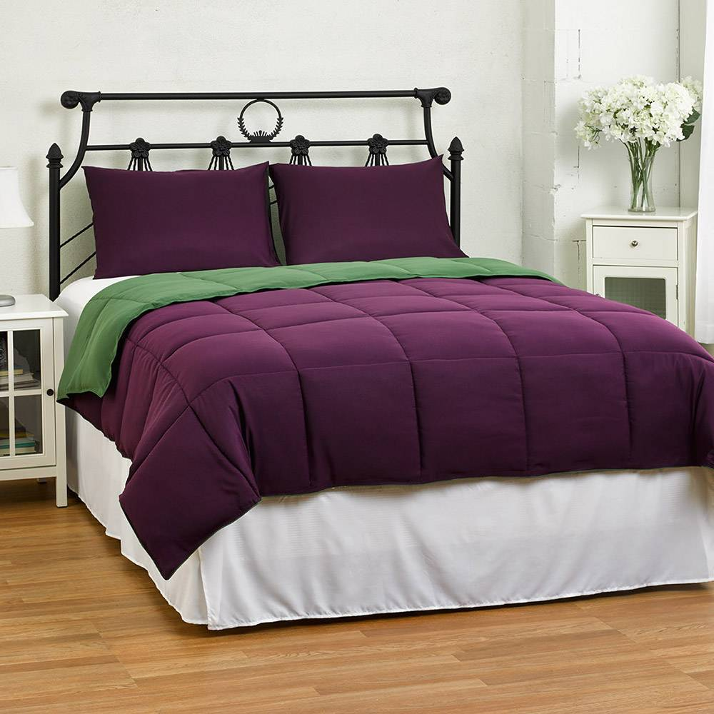 Twin/Twin XL Purple/Green Dorm Lightweight Reversible Down Alternative Summer Comforter Set Purple/Green