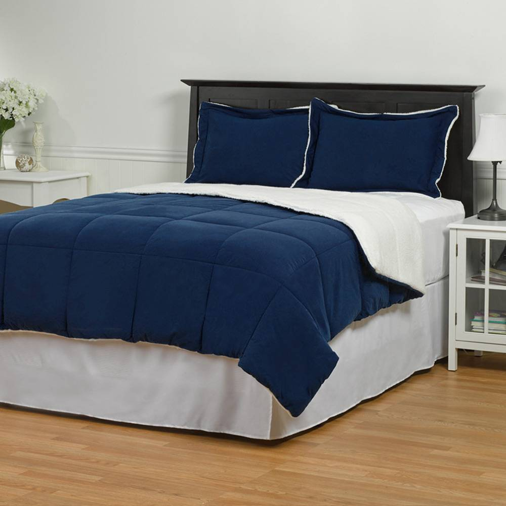 Sherpa Down Alternative Comforter Set Full/Queen Navy Blue