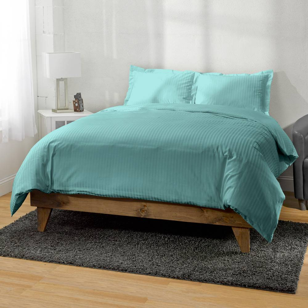 Striped 650 Thread Count Egyptian Cotton Duvet Cover Set King Teal