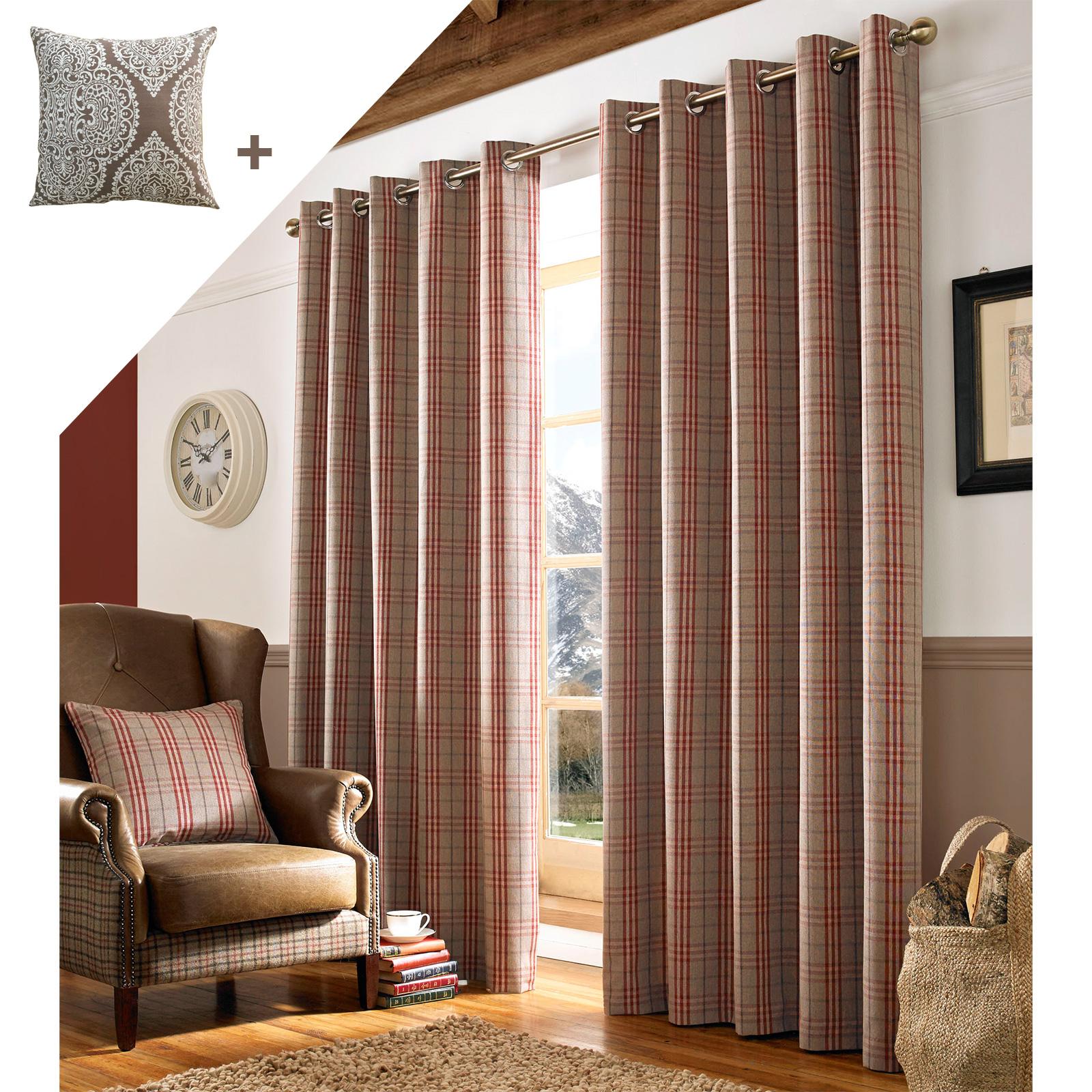 archie enti rement doubl illets rideaux pr t l 39 emploi lourd tartan carreaux ebay. Black Bedroom Furniture Sets. Home Design Ideas
