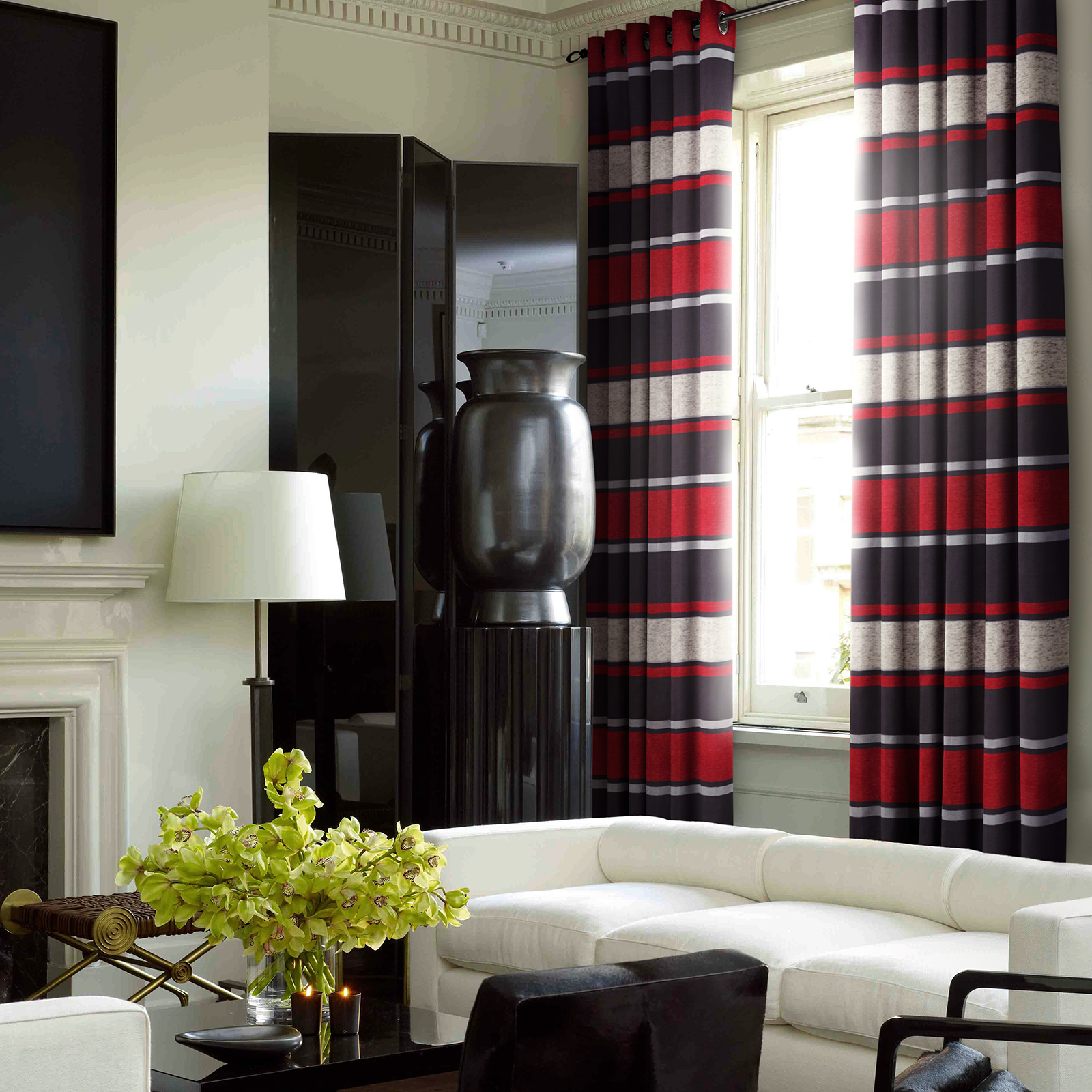 Chenille Striped Curtains Rich Soft Jacquard Fully Lined
