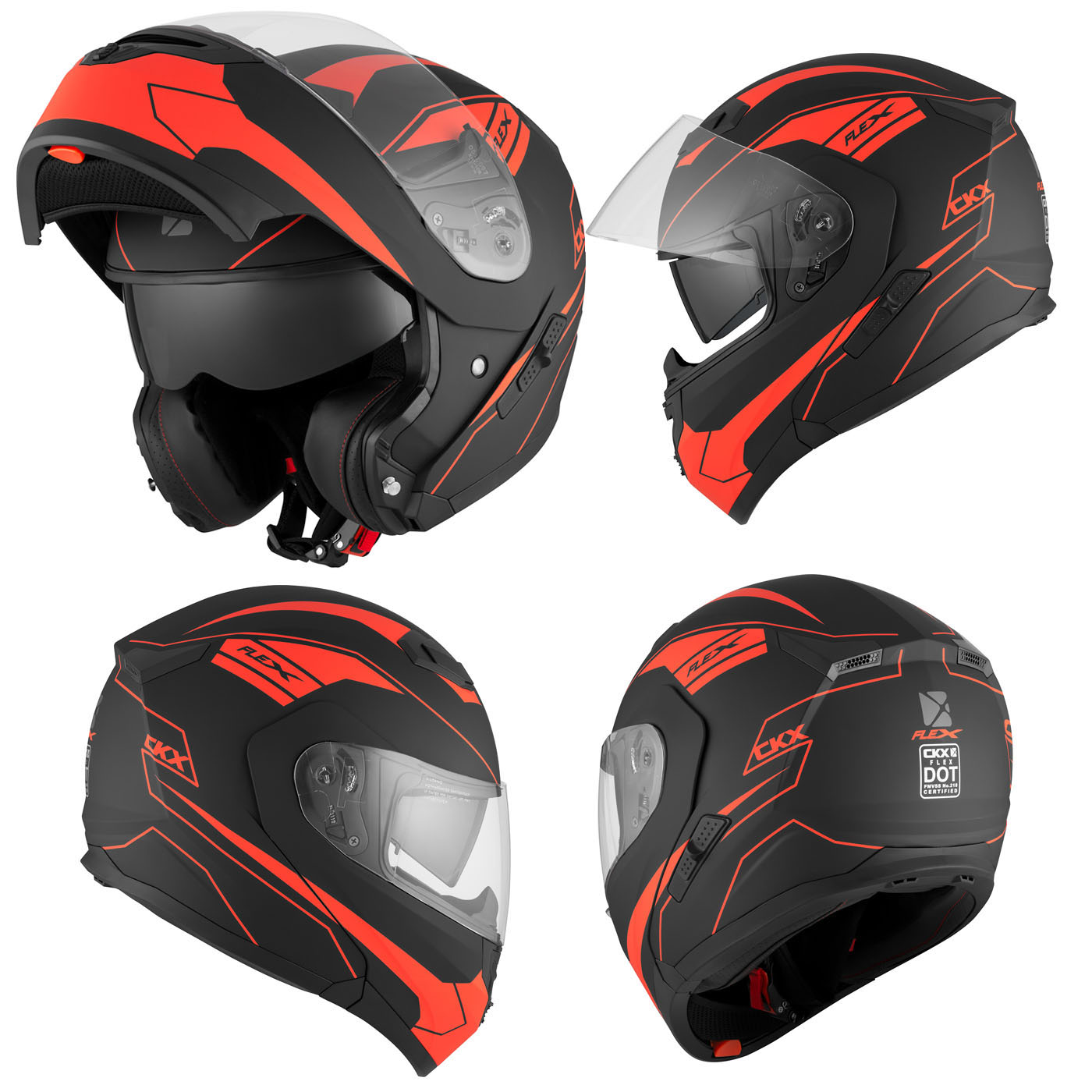 a1dd6aeb Motorcycle Helmet Modular Flip Up CKX Flex RSV Zone Large Mat Red Black  Adult