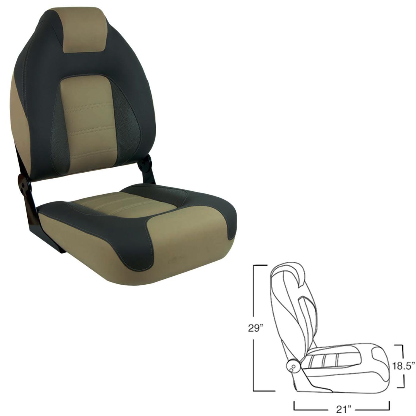 Details about Springfield 1062583 OEM Series Folding Seat Boat Chair  Charcoal & Tan Upholstery