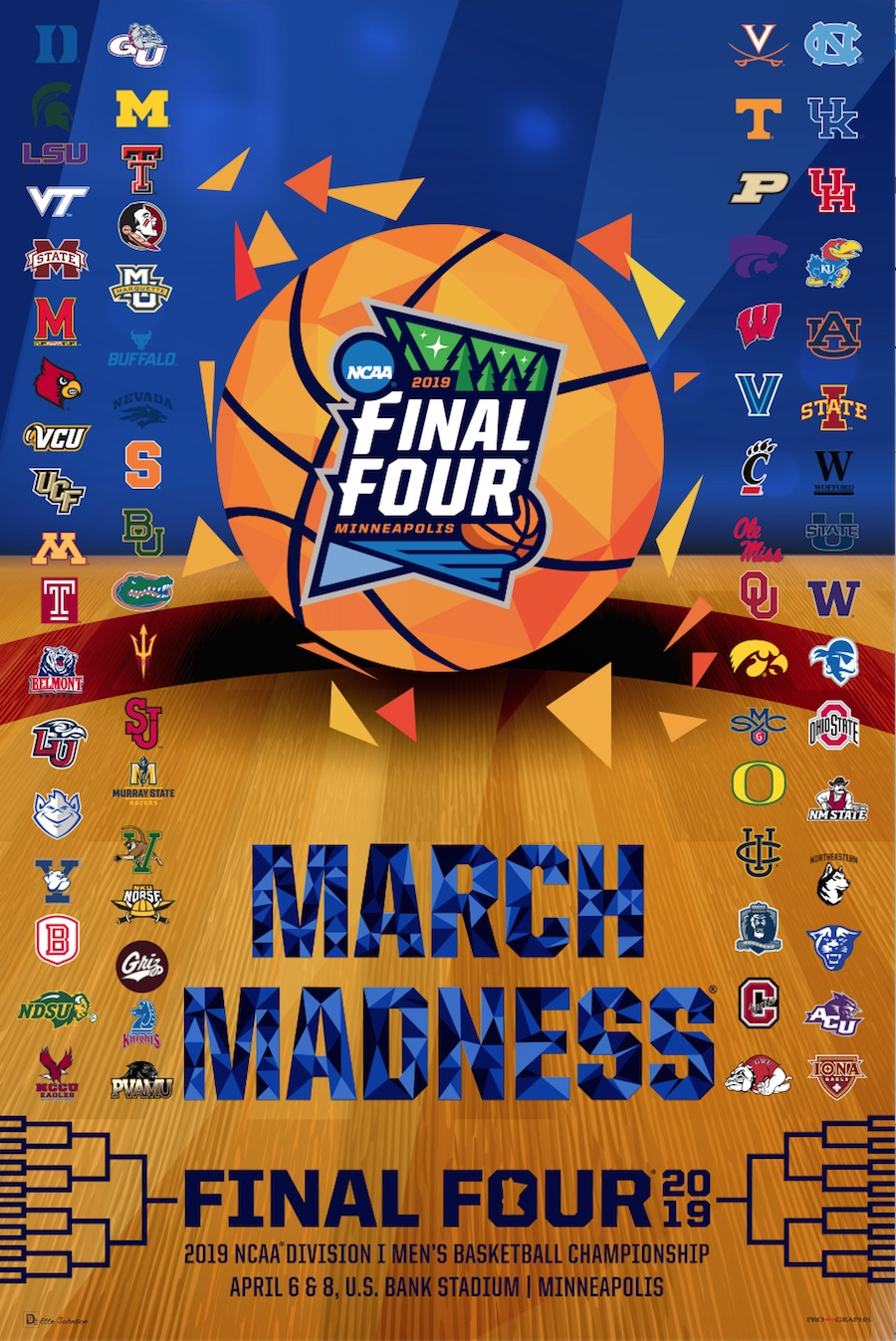 photograph regarding Printable College Logos identified as Data above 2019 Formal NCAA Last 4 March Insanity Basketball Personnel Emblems Print Poster