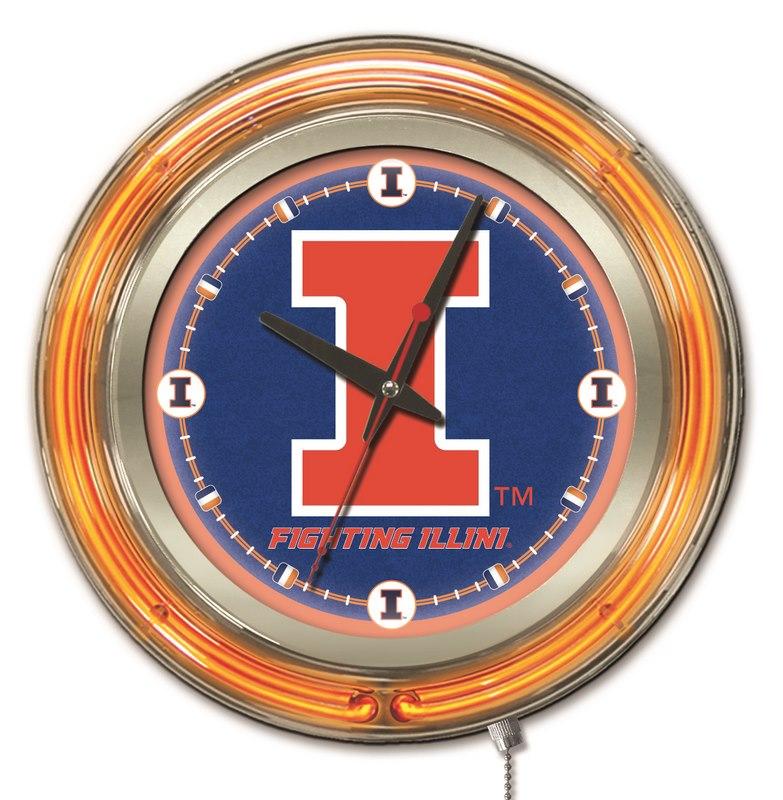 Illinois Fighting Illini HBS Neon Orange Navy Battery Powered Wall Clock 15 Holland Bar Stool Co