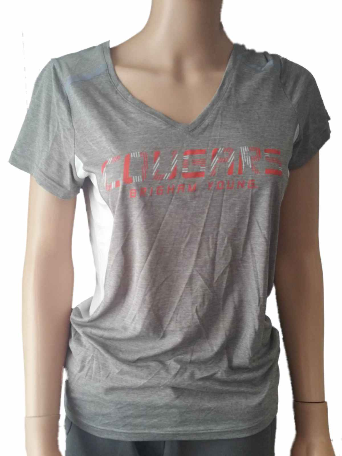 ed6a93930 Details about BYU Cougars Champion PowerTrain WOMENS Gray Lightweight  V-Neck T-Shirt (M)