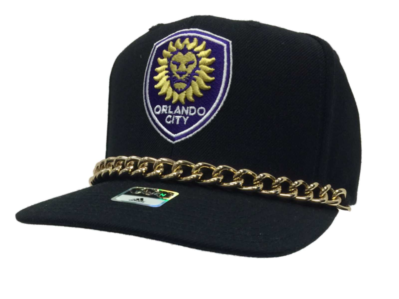 b76268aa205 Orlando City SC Adidas WOMEN Black with Chain Snapback Flat Bill Hat ...