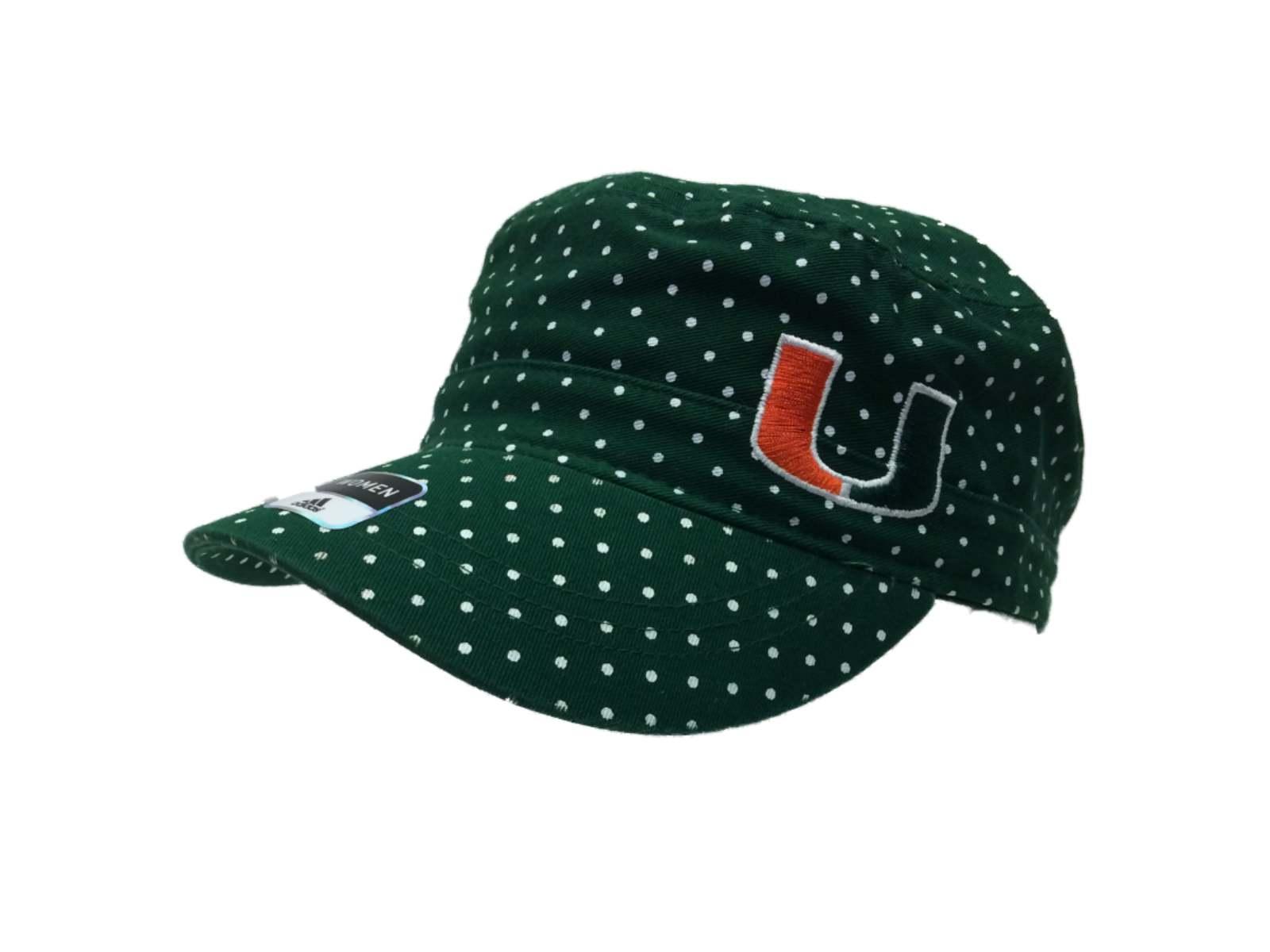 Miami Hurricanes Adidas WOMEN S Green Polka Dot Snapback Bootcamp Hat Cap a278018b1914