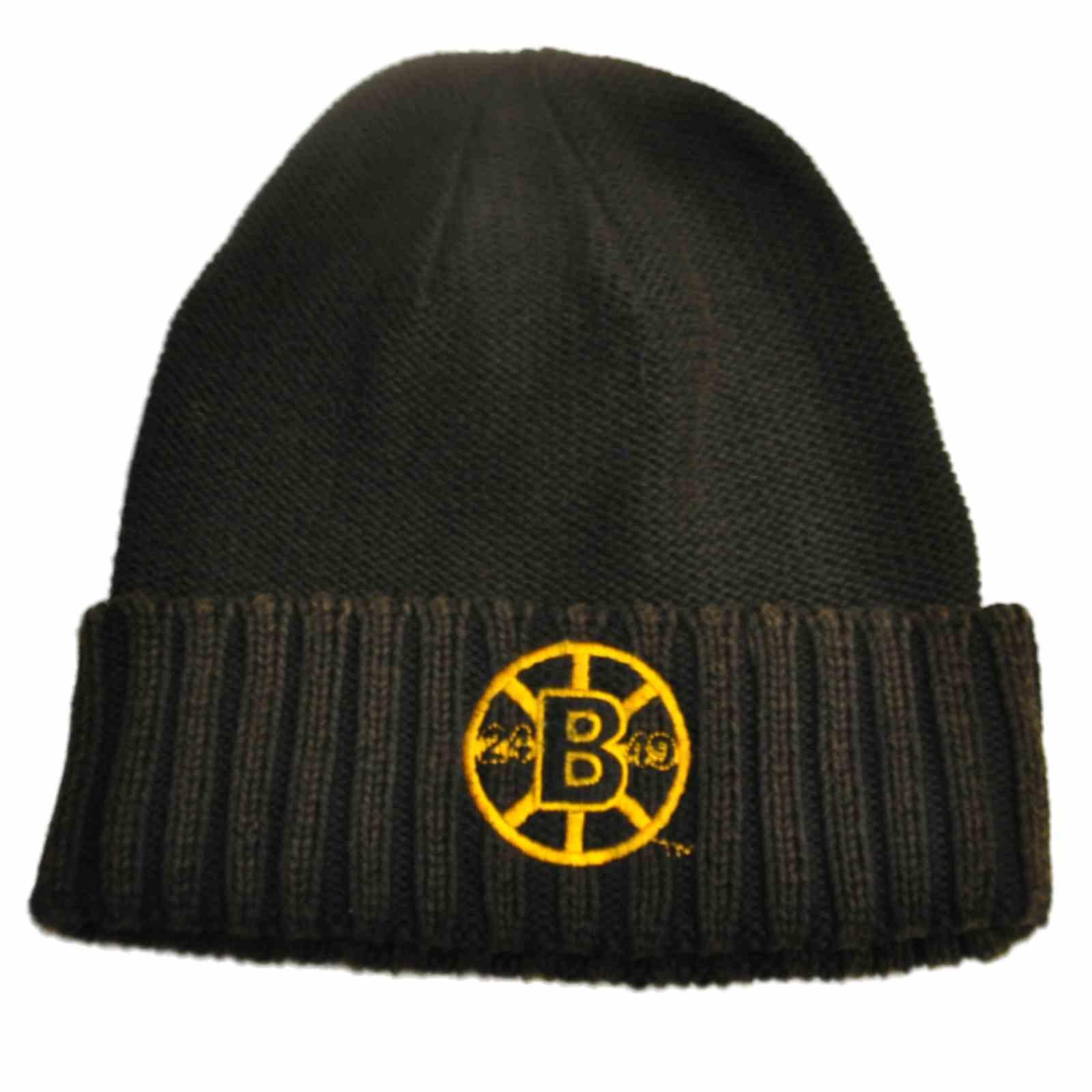 2cd39ca7b93bd Details about Boston Bruins Retro Brand Unisex Faded Black Cuffed Knit  Beanie Hat Cap