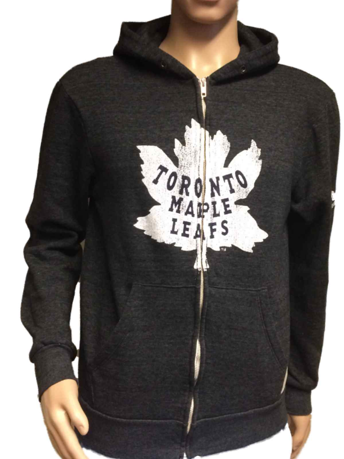 ac75f37ed Details about Toronto Maple Leafs Retro Brand Gray TriBlend Fleece Zip Up  Hoodie Jacket (M)