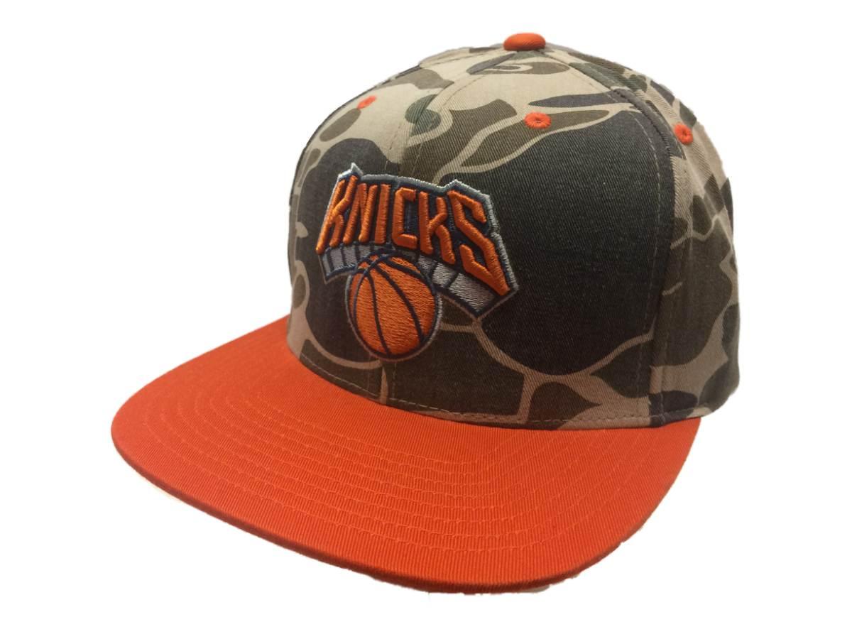 cda14e636fd35 Details about New York Knicks Mitchell   Ness Camo   Orange Adj. Snapback  Flat Bill Hat Cap