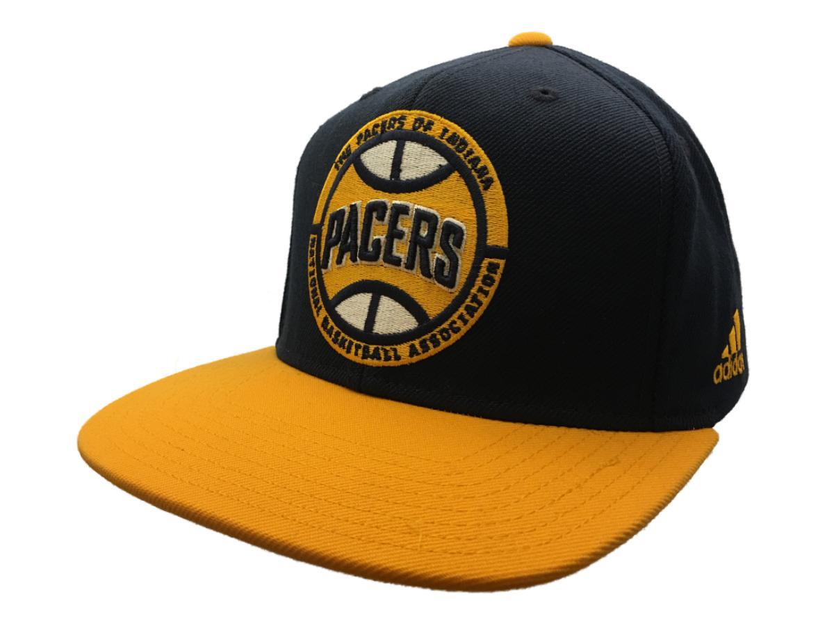 3b800cbd715 Adidas Indiana Pacers Navy   Yellow Adj Structured Snapback Flat Bill Hat  Cap