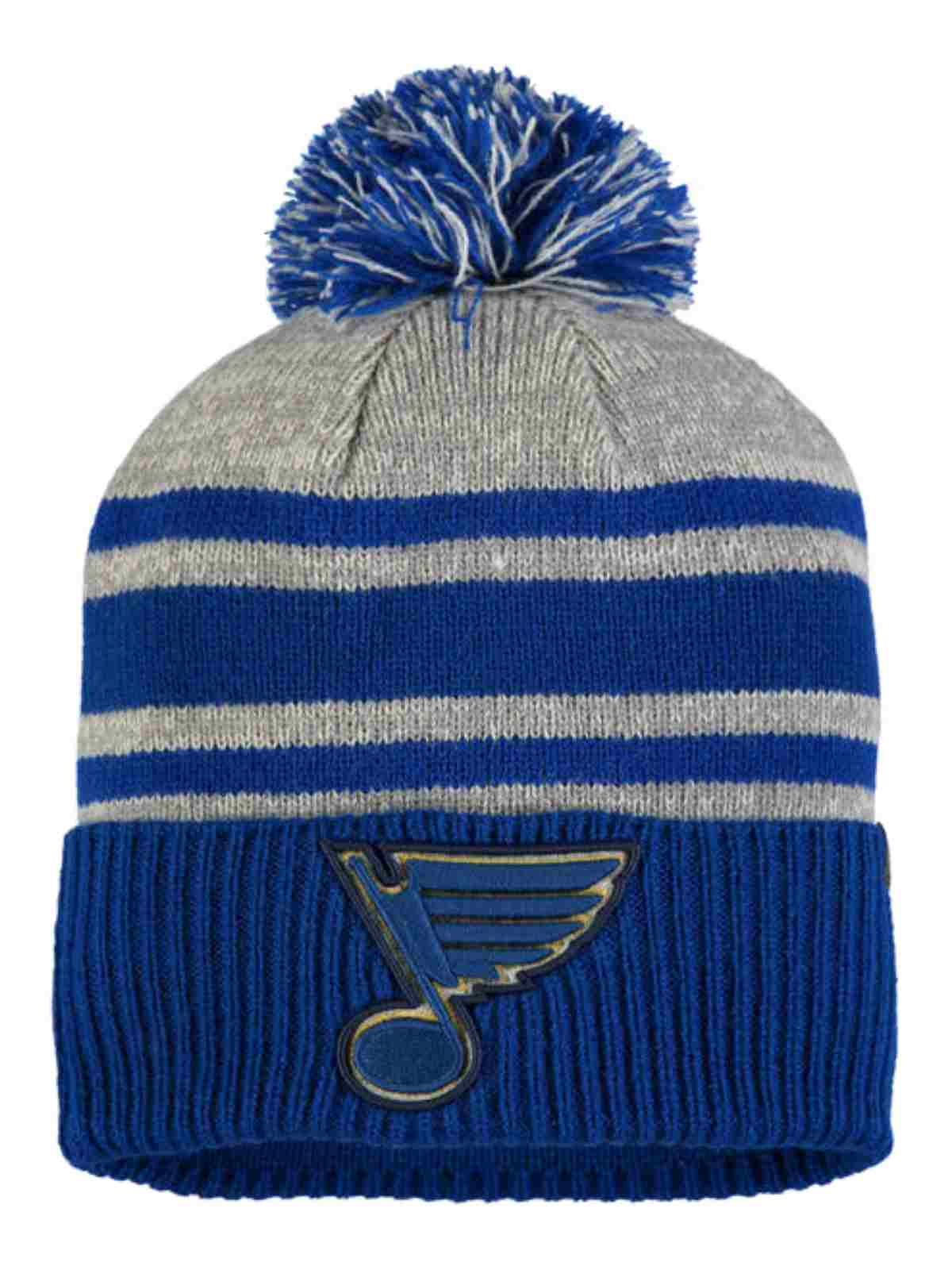 423ce6fb7dc892 St. Louis Blues Fanatics Royal Blue & Gray Cuffed Poofball Beanie Hat Cap