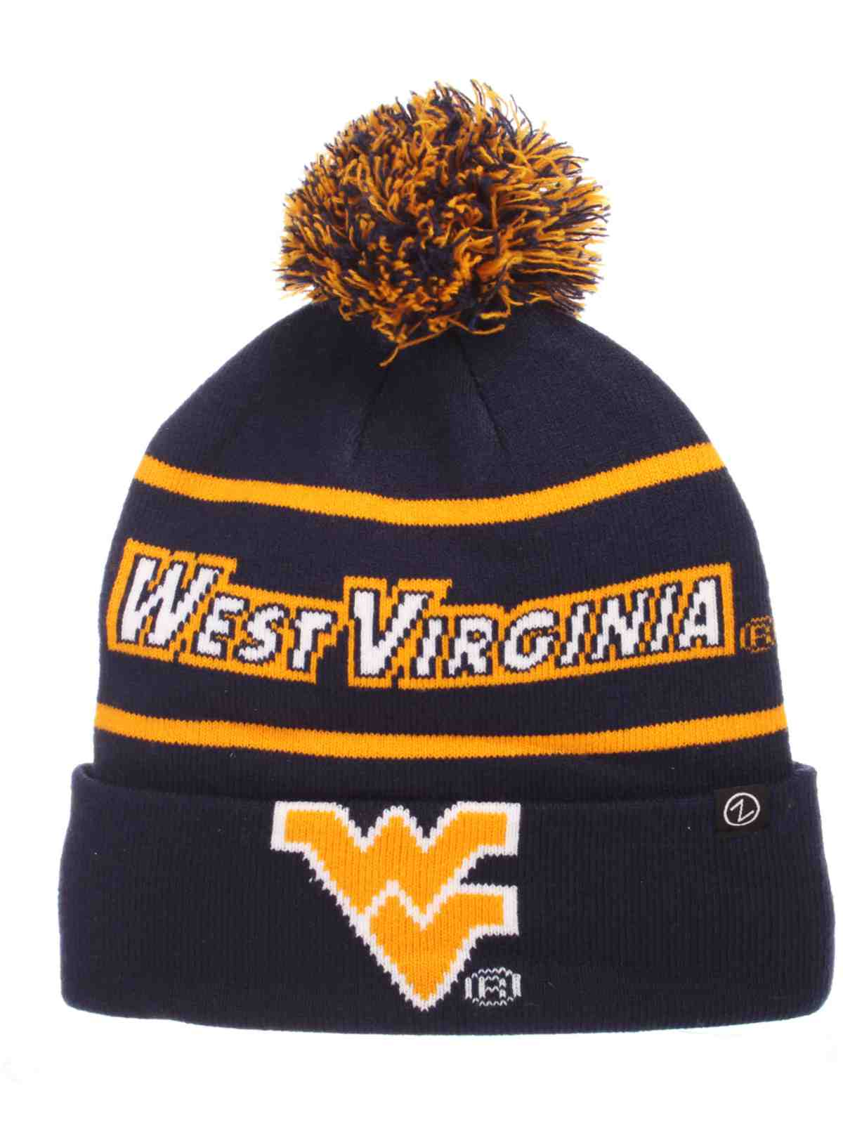 1c5684e857e West Virginia Mountaineers Zephyr Bandit Knit Cuffed Poof Ball Beanie Cap  Hat
