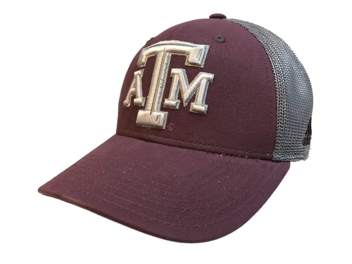 finest selection d629a 4df2a Texas A M Aggies Adidas Vintage Maroon Mesh Back Structured Flexfit Hat Cap